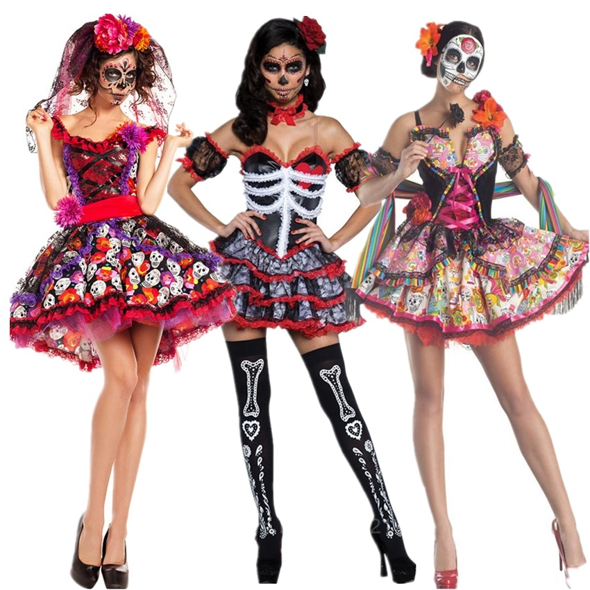 Scary Skeleton Costume <font><b>Halloween</b></font> Cosplay <font><b>Sexy</b></font> Skull Devil Disguise Witch <font><b>Women</b></font> Fancy <font><b>Dress</b></font> Bride Carnival Party Dance Night Club image