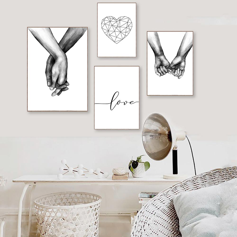 >Love Poster Couple Holding Hands Painting Black And <font><b>White</b></font> Wall Art Canvas <font><b>Minimalist</b></font> Print Nordic Wall Pictures For Living Room