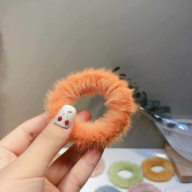 Nova moda macio do falso pele peludo scrunchie elástico anel de cabelo corda banda rabo de cavalo titular elástico de pelúcia anel de cabelo acessórios para o cabelo