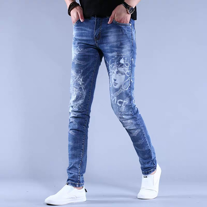 Free Shipping New 2020 Men's Male Jeans Printed Hole Embroidery Jeans Brand Autumn Slim Korean Trend Pants Casual Wild Trousers