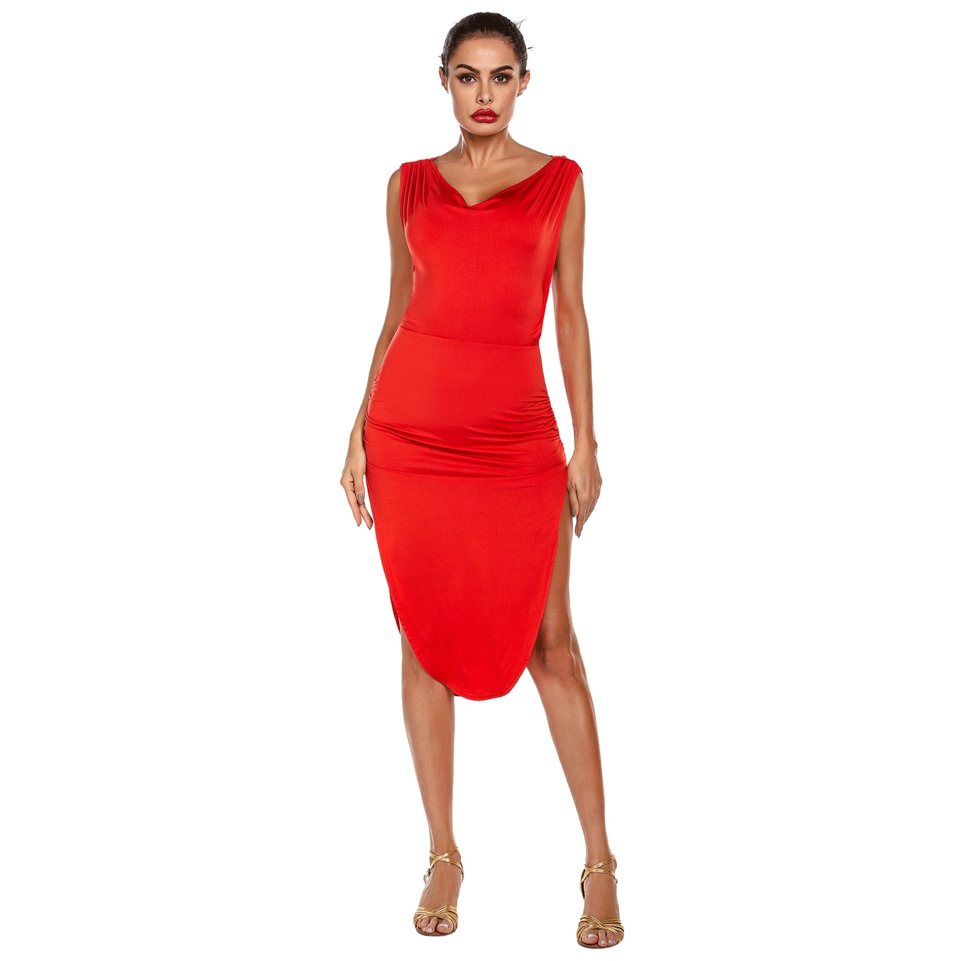 Hot Sale Woman Dance Costume Red Split Latin Dance Dress Adult Dance Dress High Quality XS-XL Drop Shipping