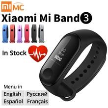 سوار شاومي مي باند 3 الذكي الأصلي سوار للياقة البدنية MiBand 3 شاشة كبيرة تعمل باللمس OLED رسالة معدل ضربات القلب وقت Smartband