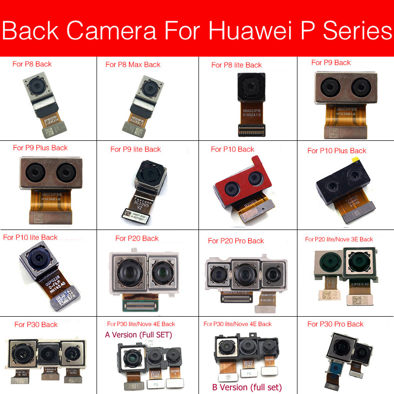 Rear Main Camera For Huawei Nova 3e 4e P8 P9 G9 P10 P20 P30 Pro P30lite MAX Plus Lite Back Big Camera Flex Cable Replacement