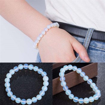 Fashion 8mm Round Crystal Moonstone Natural Stone Stretched Beaded Bracelet for Women image