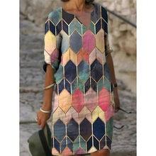 Robe imprimée ample à manches mi-longues, col en V, mode femme, Vintage, printemps, automne, tout-assorti, robes de plage