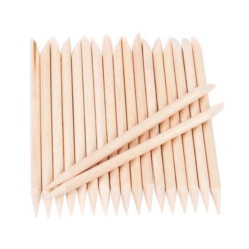 New 200 PCS / 100 / 50 / 30 Pcs/Bag Wooden Cuticle Pusher Orange For Manicure Pedicure Remove Nail Art Tools Set