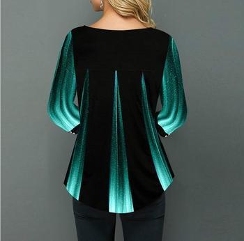 Shirt Blouse Women Spring Summer Blouse 3/4 Sleeve Casual Printing Button Female fashion shirt Tops Plus Size StreetShirt 2