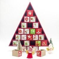 Christmas Decor Christmas Decorative Countdown Tree Shape Storage Box Desktop Gift Ornament Toy Table Wooden Calendar 24 Drawers