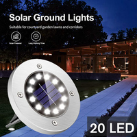 Luz Solar subterránea para jardín al aire libre, Lámpara decorativa frontal para césped de Villa de 8/12/20 LED, suministros impermeables para camino, luces de césped