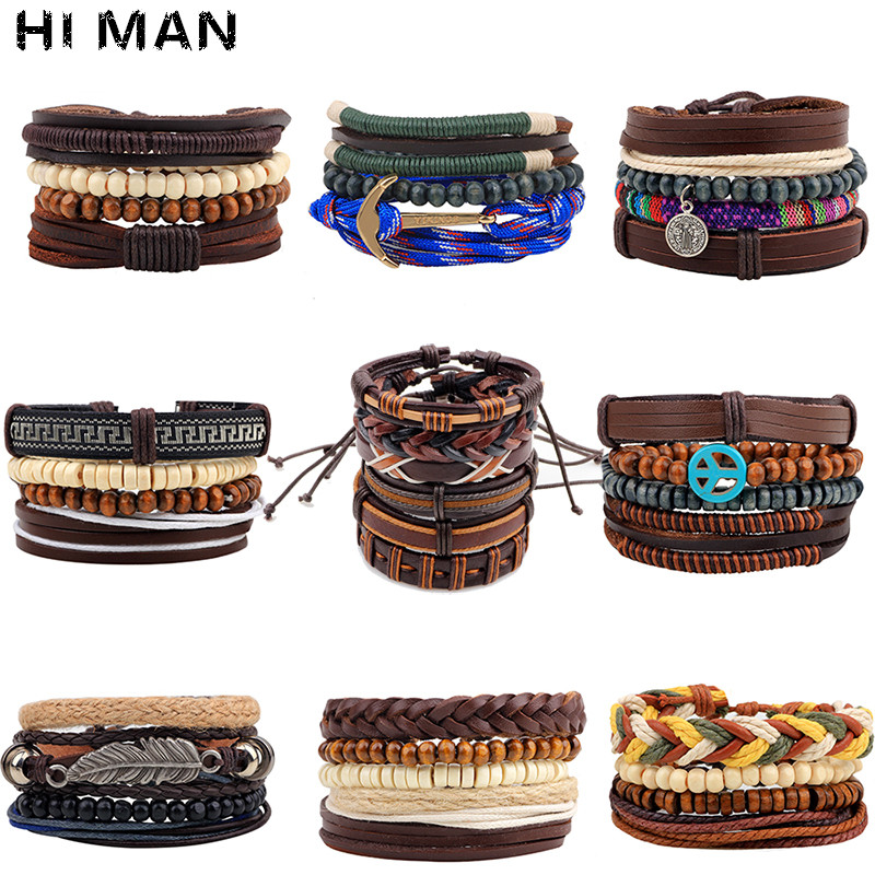 10 Styles Trendy Vintage Multilayer Handmade Leather Bracelets Leaf Anchor Aircraft Wood Beads Bracelets & Bangle Wholesale