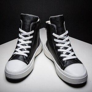 Image 2 - الرجال الأحذية حذاء رجالي كاجوال بولي Leather جلد مقاوم للماء فاسق منتصف العجل الذكور دراجة نارية الأحذية الدانتيل يصل أحذية رجالي روك Erkek Ayakkabi