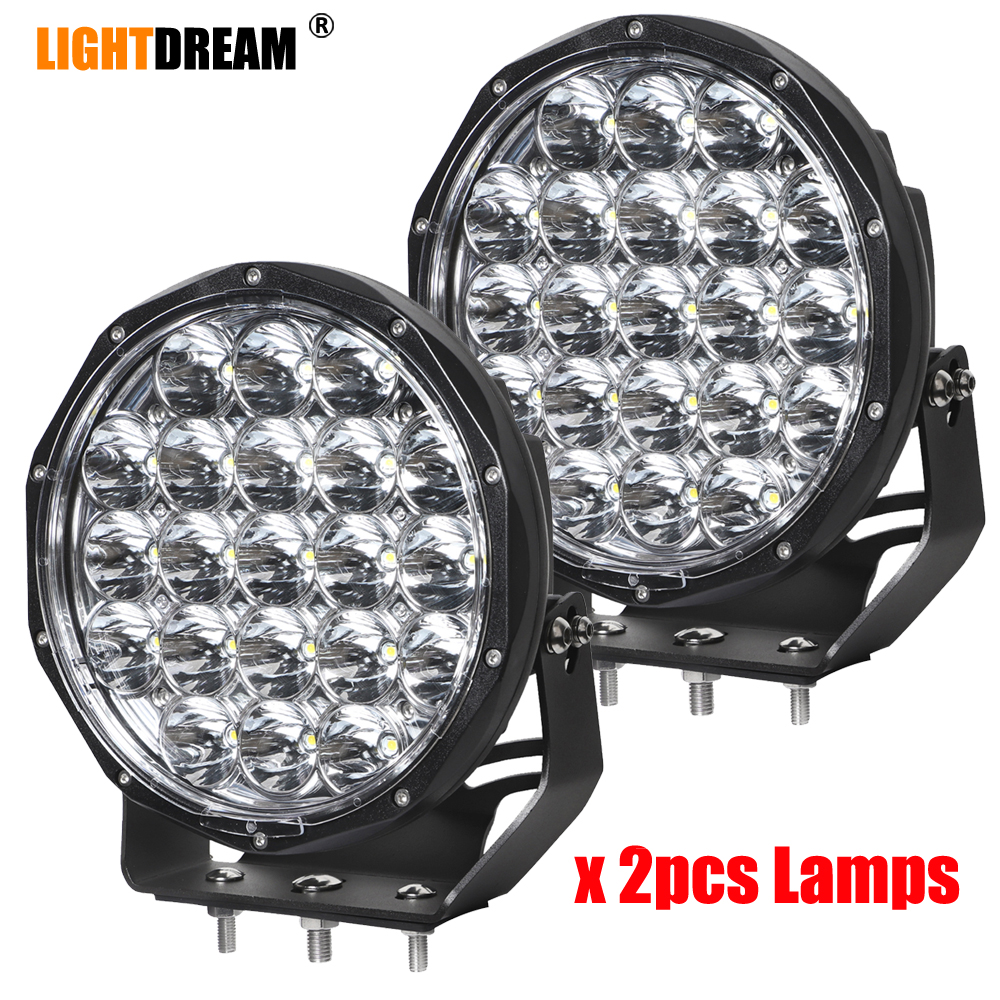 Pair Super Brightest Led Driving Lights 105W 9 Inch Round LED Spot Beam Work Light Off Road Driving Light IP67 Waterproof 9500LM