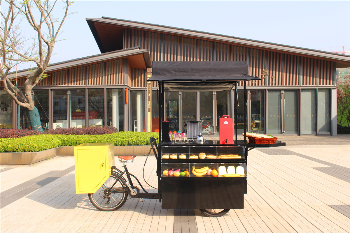 Multifunctional  Pedal / Electric Mobile Food Cart Bike Food Truck Trailer Coffee Kiosk With Free Shipping By Sea