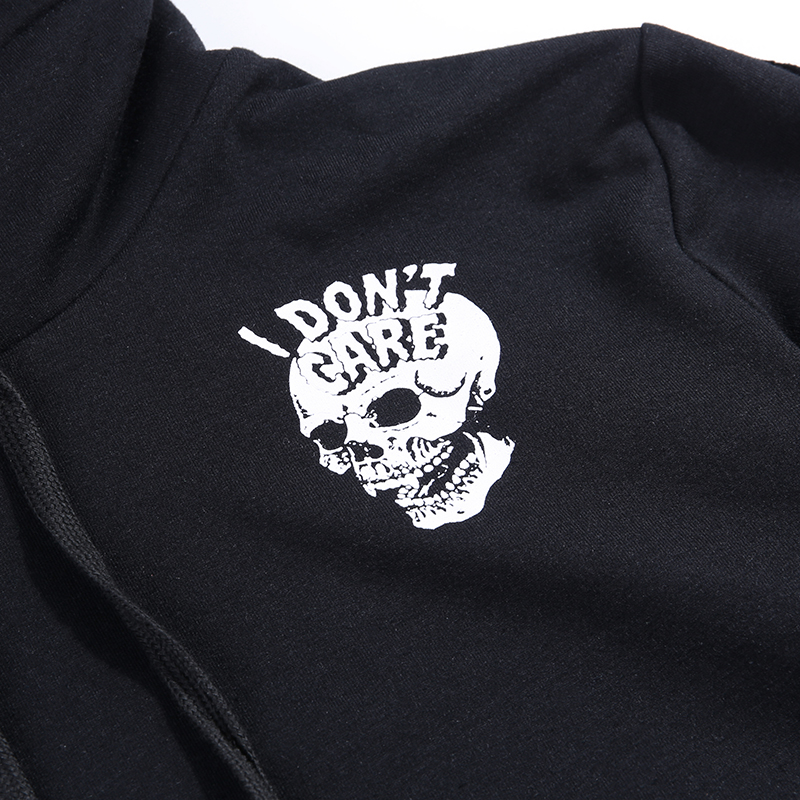 H879752b7217840f1a61fcdb42a116170R - InsGoth Women Sweatshirts Cropped Hoodies Gothic Skull Printed Black Loose Short Hoodies Mesh Patchwork Female Streetwear Hooded