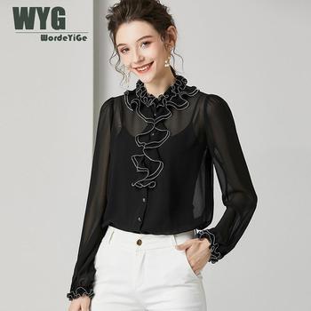 Ladies Elegant Ruffles Blouses and Tops 2020 Spring New Ping Black Long Sleeve Chiffon Blouses Shirts фото