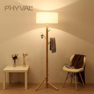 Image 3 - Lámparas de pie de madera de estilo nórdico, accesorio de iluminación minimalista, para sala de estar, dormitorio, lámpara de pie, interruptor de botón de tela