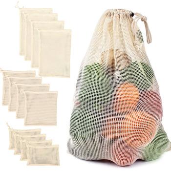 Siatki bawełniane worki warzywne produkują torby wielokrotnego użytku siatka bawełniana worek do przechowywania warzyw kuchenny owoc warzywny ze sznurkiem tanie i dobre opinie Nowoczesne RUBBER Kitchen Storage Vegetable Storage Reusable Vegetable Bags Vegetable Storage Bag