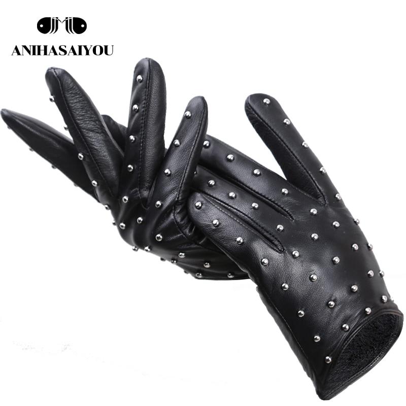 Rivets Genuine Leather Sheepskin women's gloves Thin warm women's winter gloves driving motorcycle women's leather gloves-7017
