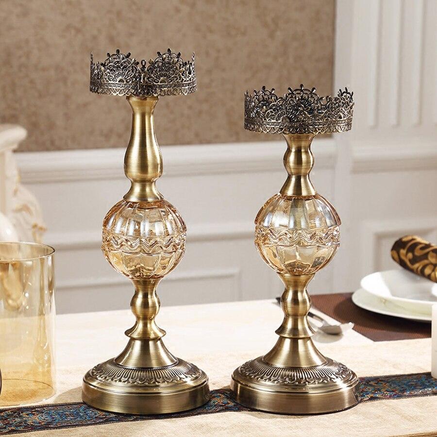 Luxe Amerikaanse Kandelaar Metalen Romantische Verjaardag Kaarsen Wieden Kaars Kerst Houders Decoraties Thuis Room Decor 50X028 - 2