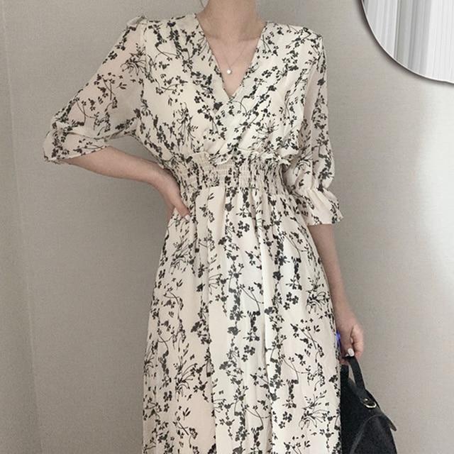 Gaganight Women Retro Floral Dress Cross V Neck Wooden Ear Slim Long Vestido Summer Elegant Chiffon Short Sleeve Dresses Femme 2
