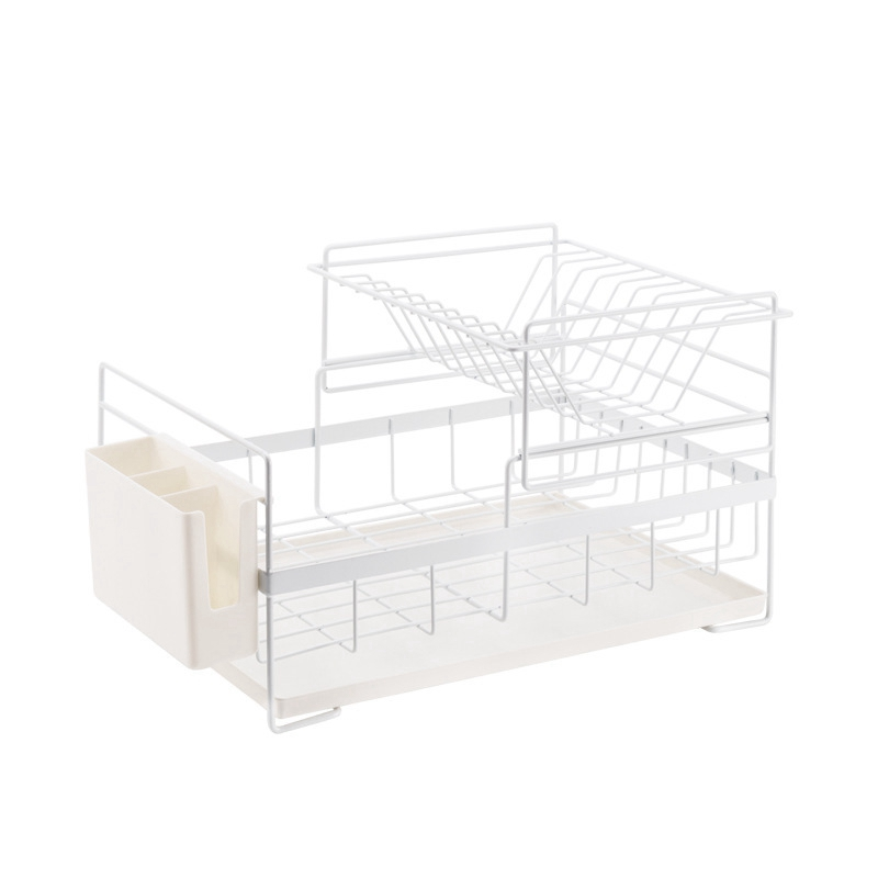 2 Tier Iron Chrome Multifunction Dish Rack Bowl Plate Dish Cup Cutlery Drainer Storage Shelf Rack Organizer Holder for Kitchen S