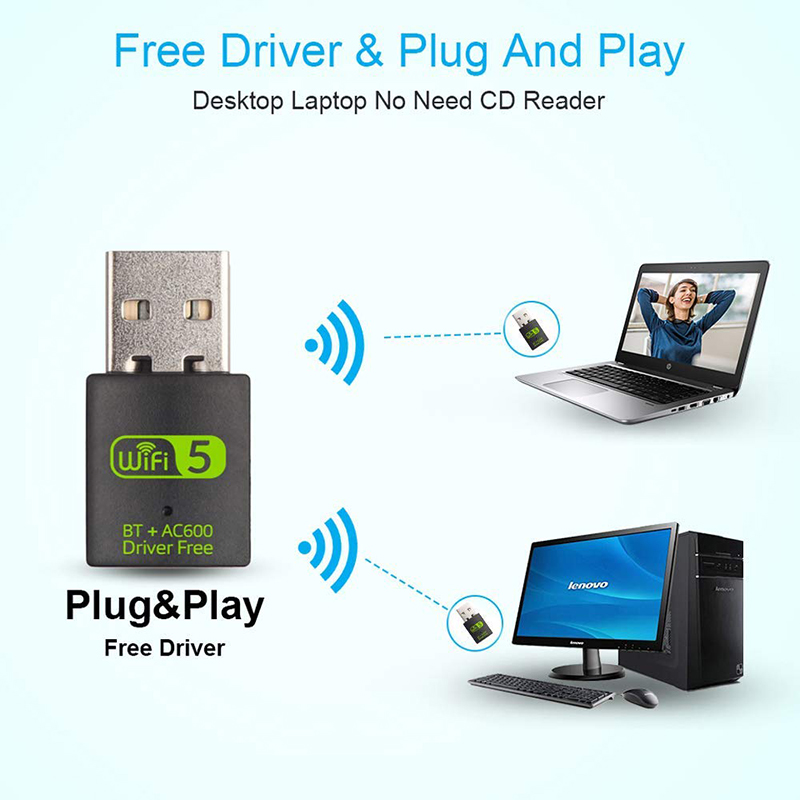 USB WiFi Bluetooth Adapter 600Mbps Dual Band 2.4/5Ghz Wireless External Receiver Mini WiFi Dongle for PC/Laptop/Desktop 5