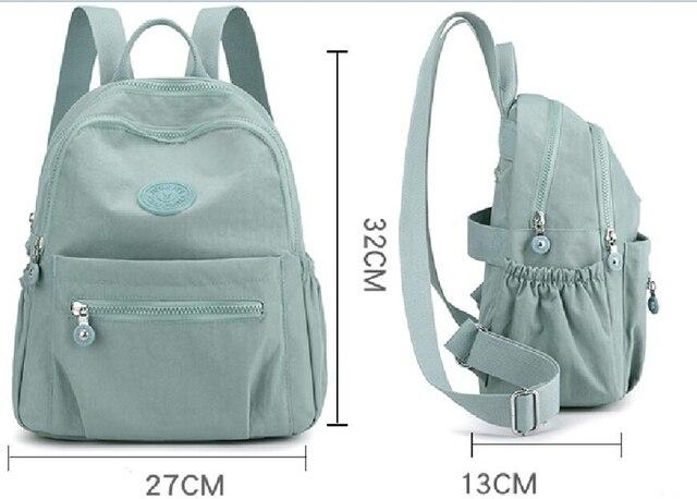 Women Waterproof Nylon Backpack Fashion Female Shoulder Bag Youth Vitality Style Multi-functional Travel School Bag 6