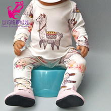 "for 18"" baby doll clothes Dinosaur flamingo rompers for 17 infant babies doll clothes pants doll toys wear kids gift(China)"