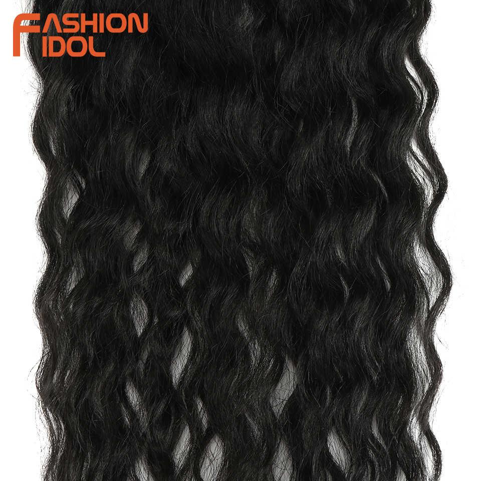 Mode Idol Water Wave Haar Bundels Met Sluiting Synthetisch Haar Extensions Ombre Blonde Silver Grey Haar 9 Stks/pak 20Inch fiber