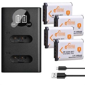 Image 1 - 4 Uds. De batería y NP BX1 NP BX1 de 1600mAh, Cargador USB LED con tipo C para Sony DSC RX1 RX100 M3 M2 RX1R WX300 HX300 HX400 HX50 HX60