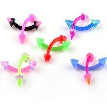 5pcs  Mixed UV Flexible Lip Tongue Eyebrow Navel Belly Nose Rings Ball Piercing Body Jewelry Barbell Bar