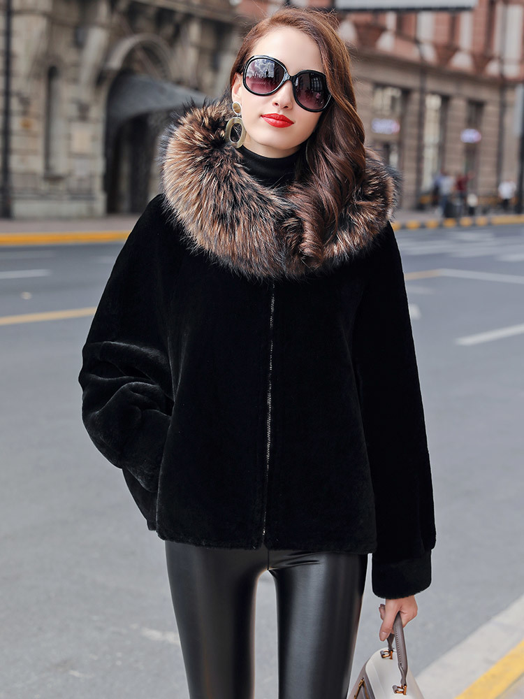 Faced Double Fur Coat Female Natural Wool Fur Coats Winter Jacket Women Raccoon Fur Collar Genuine Leather Jacket MY4462 S