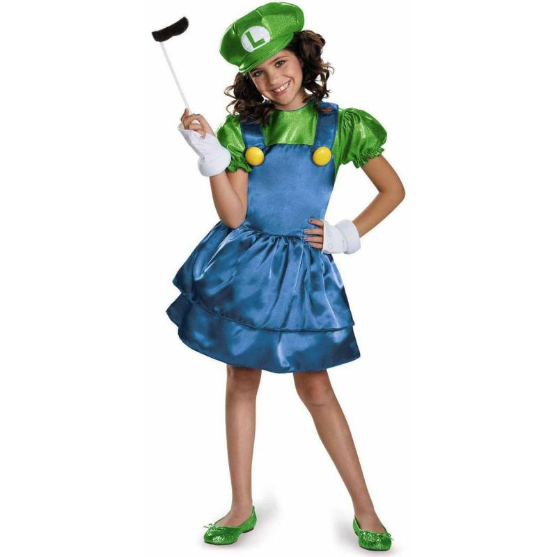 Super Mario Brothers Miss Luigi Girls Halloween Cosplay Costumes Fancy Dress Playset Dress up|Girls Costumes| - AliExpress
