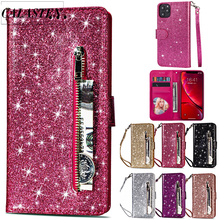 Luxury Bling Glitter Case For iPhone 11 Pro Max Wallet Phone Case Stand Holder Flip Wallet Leather Cover For iPhone 11 Pro 2019 green pineapples rose background wallet leather stand case for iphone 5c