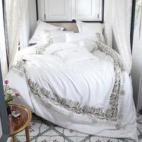 35 White Extravagant European Style Exquisite Embroidery 60s Tencel Bedding Set Duvet Cover Bed Linen Bed sheet Pillowcases 4Pcs