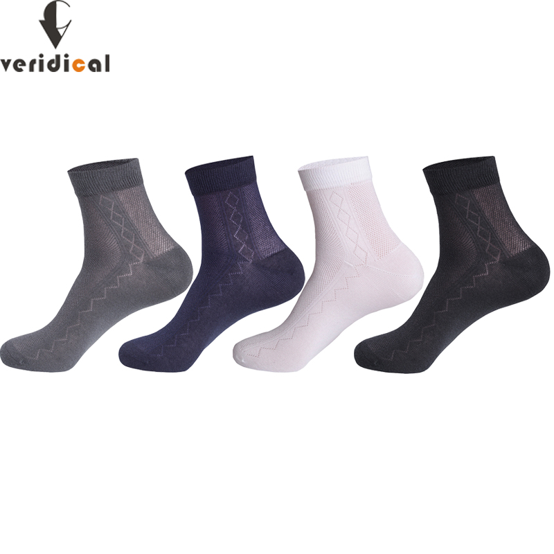 5 Pairs Man Short Socks Combed Cotton Business Mesh Solid Breathable Vintage Party Dress Long Work Socks Brand Present For Men