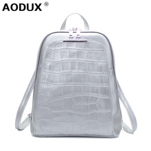 AODUX Fashion Female Backpacks 100% Genuine Leather Women Backpack Ladies School Bag Top Layer Cowhide Book ipad Bags Mochila