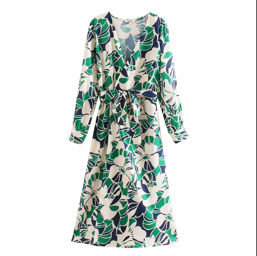 2020 New Women Elegant Floral Print Bow Tied Sashes Midi Dress Ladies Long Sleeve Vestido Chic Cross V Neck Party Dresses DS3323