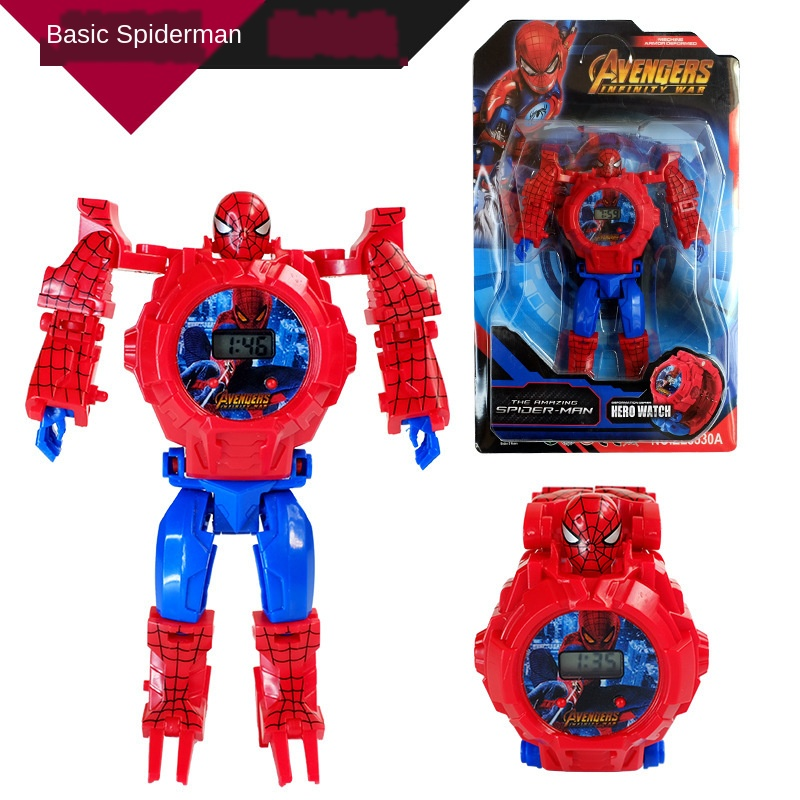 Disney League Of Legends Children Kids Toy Watch Deformation Spider-Man Captain America Electronic Cartoon Boys Girls Kid Watch