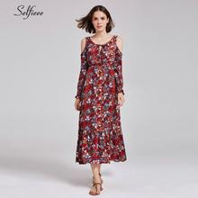 New Arrival Burgundy Maxi Dresses A-Line O-Neck Long Sleeve Floral Print Boho Dresses 2019 Casual Women Summer Dresse Robe Femme цена