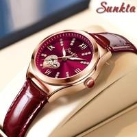 女性用レザークォーツ時計,シンプルな時計,ブランド名,カジュアル,ゴールド,ピンク,トレンド2021