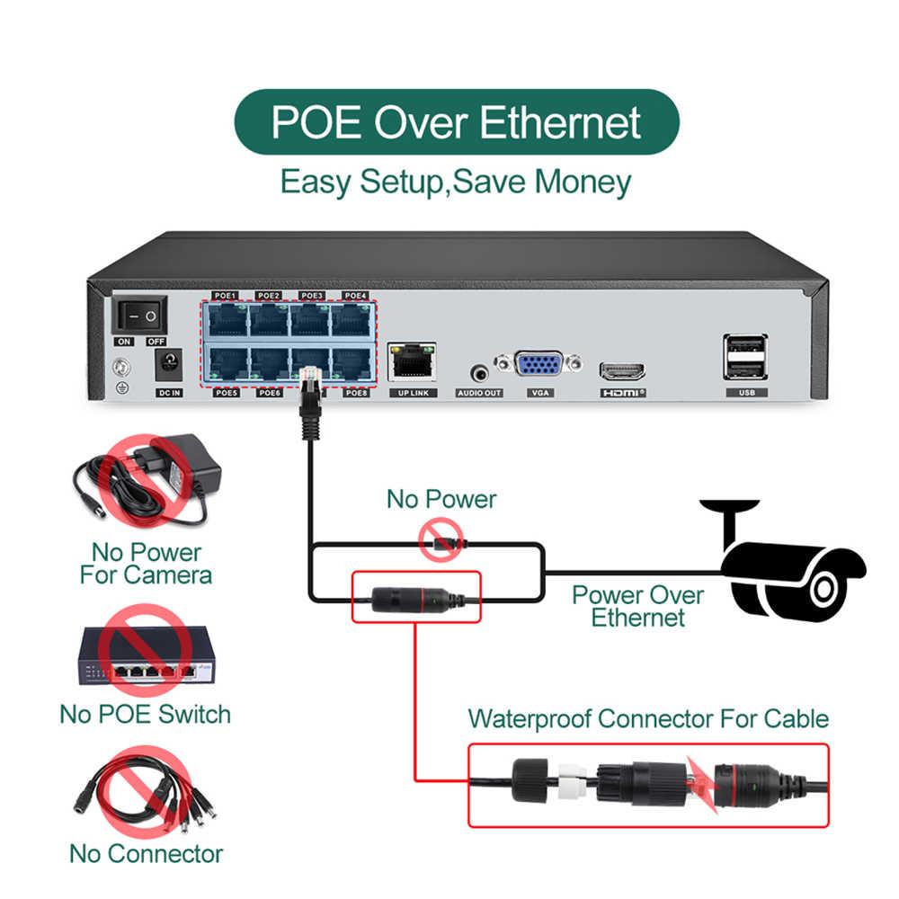 Techage 8CH 1080P POE IP كاميرا نظام NVR 4 قطعة 2MP اتجاهين الصوت IR قطع في الهواء الطلق مقاوم للماء CCTV طقم مراقبة أمن الوطن