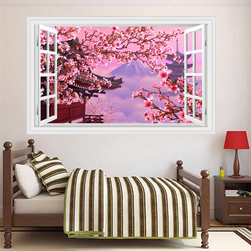 3d Fake Window Landscape Wall Stickers Japanese Cherry Blossom Wallpaper Living Room Kitchen Removable Decals Home Decorations Wall Stickers Aliexpress
