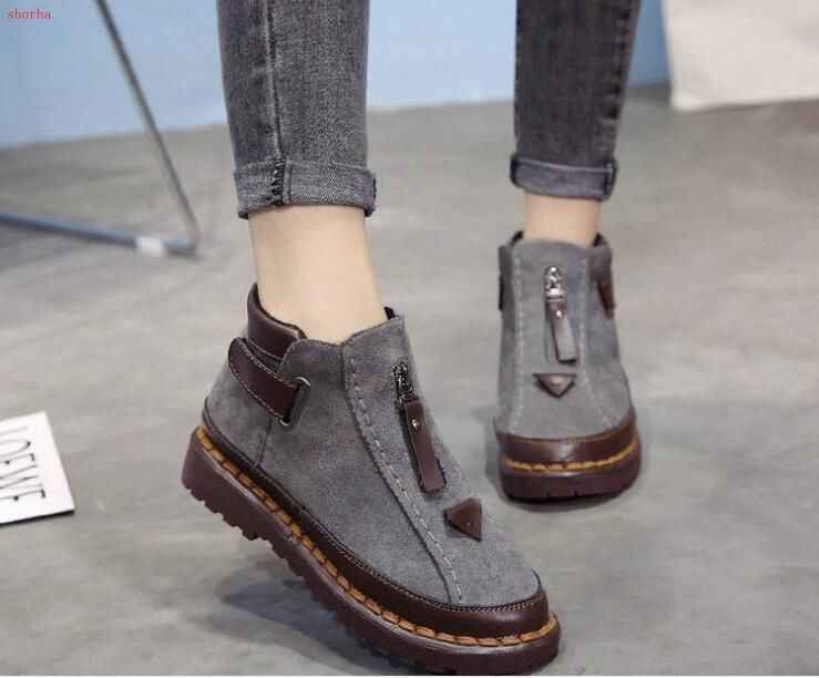 Sonbahar yeni Kadın Botları Sıcak Kış Kadın Ayakkabı Kadın Sahte Süet bileğe kadar bot Kadın Için büyük boy Peluş Kar Botları