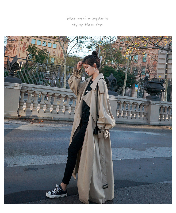 H8798c2221c184aceb12840fec908e3bfi Korean Style Loose Oversized X-Long Women's Trench Coat Double-Breasted Belted Lady Cloak Windbreaker Spring Fall Outerwear Grey