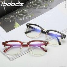 IBOODE gafas de lectura de medio marco Vintage gafas de lectura de moda gafas de marco cuadrado anti-azules gafas acabadas
