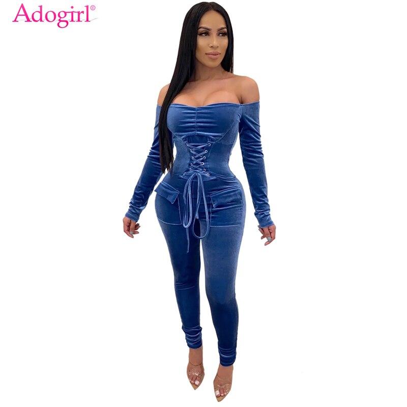 Adogirl Grommet Lace Up Bandage Velvet Jumpsuit Women Sexy Slash Neck Off Shoulder Long Sleeve Pockets Romper Casual Overalls
