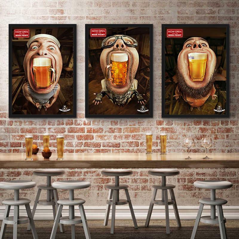 Abstrakte Figur Bier Gemälde Retro Kreative Leinwand Malerei Wand Kunst Für Bar Restaurant Schlafzimmer Mann Room Decor