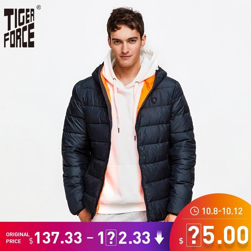 Erkek Kıyafeti'ten Parkalar'de Kaplan kuvvet 2019 yeni balon ceket erkekler moda rahat kapüşonlu ceket yastıklı pamuk kış ceket erkek Parka sıcak manşetleri giyim'da  Grup 1