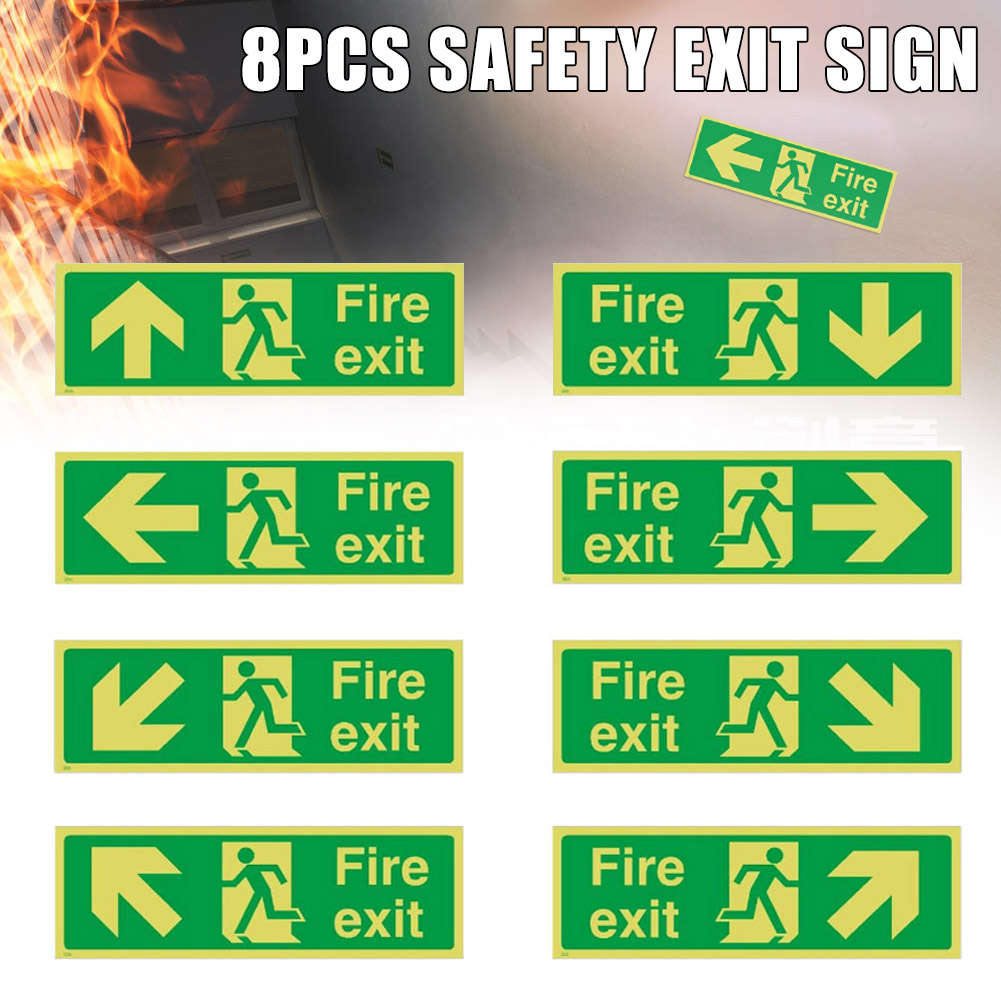 8pcs Photoluminescent Fire Exit Sign 300x100mm Plastic All Direction Arrows GK99
